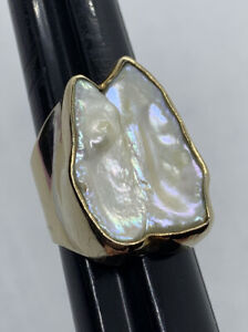 Estate Stephen Dweck Large Baroque Pearl One Of A Kind Gold Vermeil Ring Sz 10