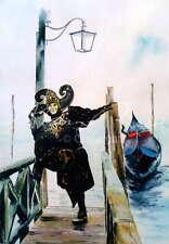 """Nuevo Y Original Alan Reed """"el bufón"""" Carnaval De Venecia Gondola Acuarela Pintura"""