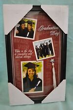 Black Frame GRADUATION 15 x 9 Photo Graduate COLLAGE 3 Photos Tassel Sayings NEW