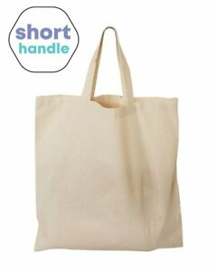 PACK OF12, Short Handle 100% Cotton SHOPPING GROCERY Bags Document Holder Tote