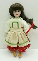 """Porcelain Ornament Doll Gorham World Gift Hand Painted Face 7"""" doll"""