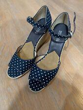 Michael Kors Navy Blue White Polka Dot Canvas Peeptoe Jute Wedges 9 Ankle Strap