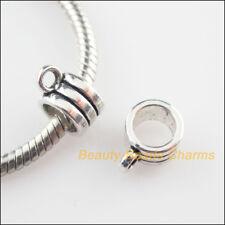 10 New Round Charms Tibetan Silver Tone European Bail Beads Fit Bracelet 5x11mm
