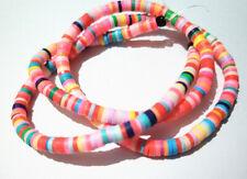 1filo/45cm perline Heishi rondelle in pasta polimerica 4x1mm multicolore bijoux
