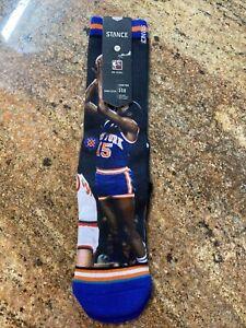 Stance Men Blue Crew NBA Legends NY Knicks Frazier Monroe Graphic Socks M 6-8.5