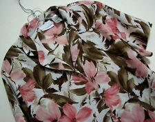 Alfred Dunner Sz 14 Pink Brown Floral Tropical Hawaiian Button Polyester Shirt