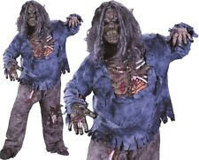 Mens Halloween Plus Size Zombie Fancy Dress Costume, Mask & Gloves New
