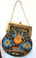 Vintage needlepoint bag gold frame chain 1920 flapper 1970 boho handbag purse