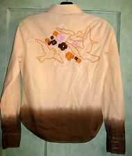 NWOT Levi's Womens Tailored Western Long Sleeve Shirt Tan Brown Emboirded SMALL