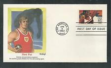 # C105-08 AIRMAIL OLYMPICS: SHOT PUT, SWIMMING...1983 Fleetwood First Day Covers