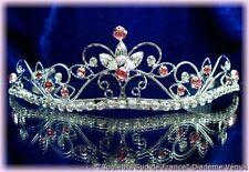 """DIADEME cristal """"Vénus Rose"""" Bijou argenté Mariage"""