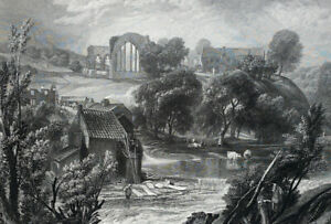 Turner Antique Print Egglestone (eggleston) Abbey, Barnard Castle North East