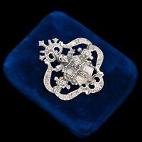 Antique Vintage Nouveau Sterling Silver Medieval Revival Knight HUGE Pin Brooch