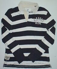 Mens L American Eagle Outfitters AEO LS Eagle Rugby Shirt Black White Stripes
