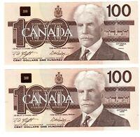 1988 - 2 Consecutive Canadian 100$ Dollar Banknote, Bank Of Canada UNS