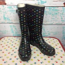 Merona Black Polka Dot Wellies Tall Rain Boots Womens 6 Galoshes Rubber Shoes