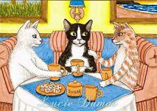 ACEO art print Cat 357 coffee break from funny original painting L.Dumas