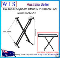 Double-Braced X Frame Folding Adjustable Keyboard Piano Stand w Locking Strap
