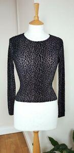 Vintage 90s Grey Leopard Print Long Sleeve Top Size S