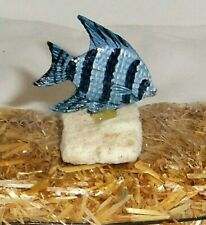Hand painted collectible blue stripe Tropical Fish 2.5in figurine Coral mount