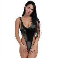 Sexy Women's Lingerie Shiny Wet Look High Cut Bikini Monokini Leotard Swimsuit