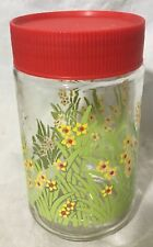 Vintage Anchor Hocking Glass Jar Yellow Flower Print with Red Lid Vintage