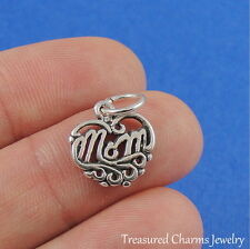 .925 Sterling Silver MOM HEART CHARM Mother Mommy Heart Love PENDANT