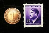 Authentic German WW2 Purple Stamp and Coin Historical WW2 Authentic Artifact