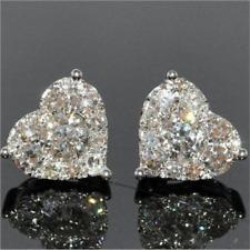 Luxury 925 Silver White Sapphire CZ Heart Stud Earrings Women Wedding Jewelry