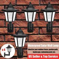 4x LED Solar Power Wall Lamp Light Lantern Outdoor Garden Yard Porch Pathway USA