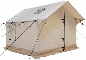 Canvas Wall Tent 8'x10' w/Aluminum Frame, Fire Retardant for Outfitter & Winter