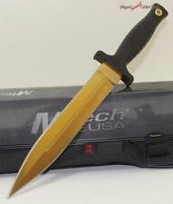 """11"""" MTech Gold Titanium Double Edged Throwing Dagger Combat Fighting Boot Knife"""