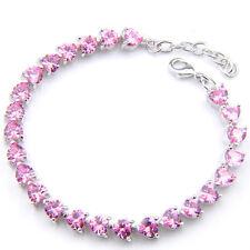 European Party Gift Love Heart Sweet Pink Topaz Gems Silver Charm  Bracelets