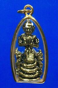 Naga Pu Si Suttho Nampee Gold Micron Pendant Dragon Thai Buddha Amulet