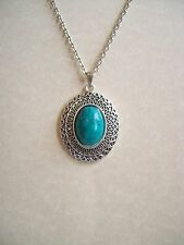 OVAL FILIGREE STYLE ANTIQUE SILVER GREEN TURQUOISE PENDANT NECKLACE
