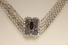 Zierliche Kropfkette 5 Gänge Silber 800 Handarbeit mit Böhmischem Granat