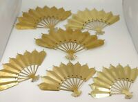 Vintage Home Interiors  Brass Victorian Fans Lot Wall Decor  three sets oriental