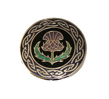 Fine Enamel Thistle with Celtic Ring Scarf Pin/Brooch (7537)