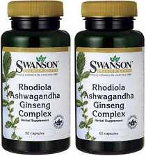 2X Rhodiola Ashwagandha Ginseng Complex 60 (120) Capsules Swanson Premium Stress