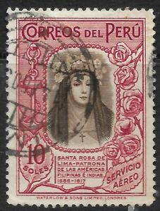STAMPS-PERU 1936. 10 Soles Brown & Carmine. Santa Maria de la Rosa. SG: 698. FU