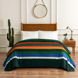 PENDLETON Sherpa fleece blanket KING, evergreen stripe - NEW