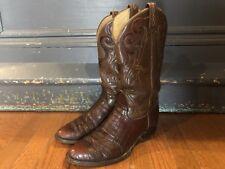 Vintage Tony Lama Cowboy Boots El Rey Exotic Alligator Belly Western