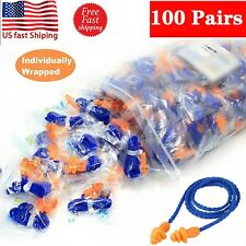 100 Pair Soft Silicone Corded Ear Plugs Reusable Hearing Protection Earplug 29db
