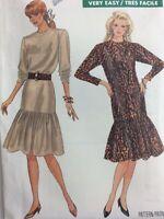 1987 Butterick 5866 Vintage Sewing Pattern Womens Dress Size 14 16 18