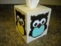 TISSUE BOX COVER - OWLS -yellow/green/pink/blue-cream background- Plastic Canvas