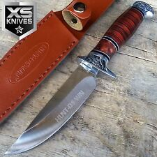 "10"" Hunt-Down Brown Wood Handle Full-Tang Hunting Knife W/ Leather Sheath"