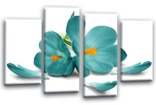 FLORAL Orchid Flower Canvas Picture Teal Green Love Wall Art Split 4 Panel SET 1