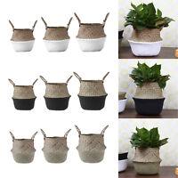 Foldable Handmade Seagrass Storage Basket Hanging Decor Laundry Toy Belly Basket