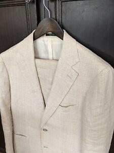 SuitSupply Havana linen cream suit 38R