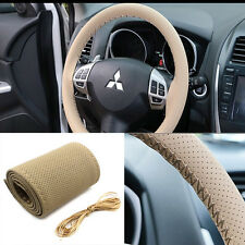 1 PC Universal Leather Car Steering Wheel Cover Case With Needles Thread beige